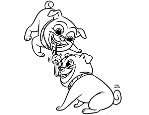 Rolly and Bingo Tug of War Coloring Page