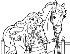 Barbie and Horse Coloring Page.png