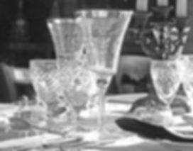 crystal glasses on the dining table