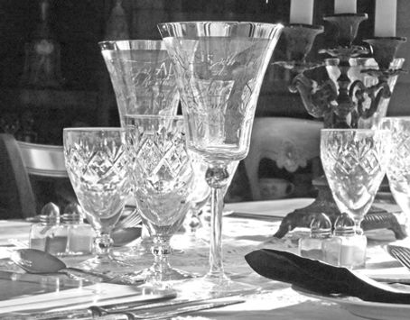 crystal wine glasses on the dining table