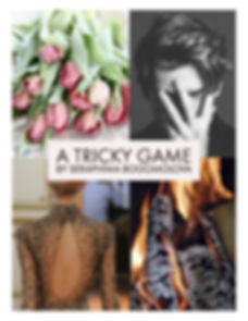 Pink tulips, a young man, a womani n a silver dress, logs in a fire