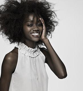 Haar model glimlachen