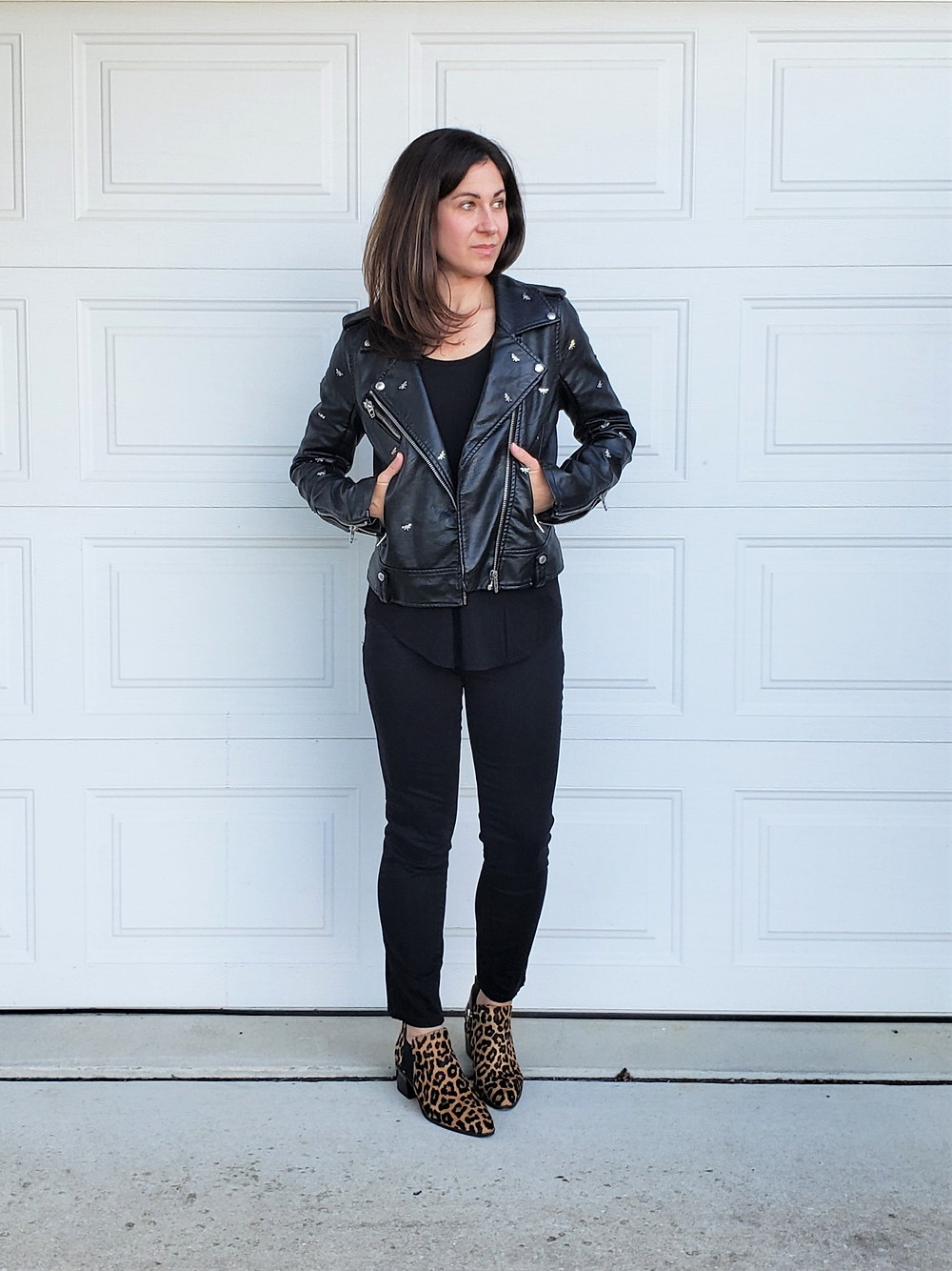 edgy mom style moto jacket outfit