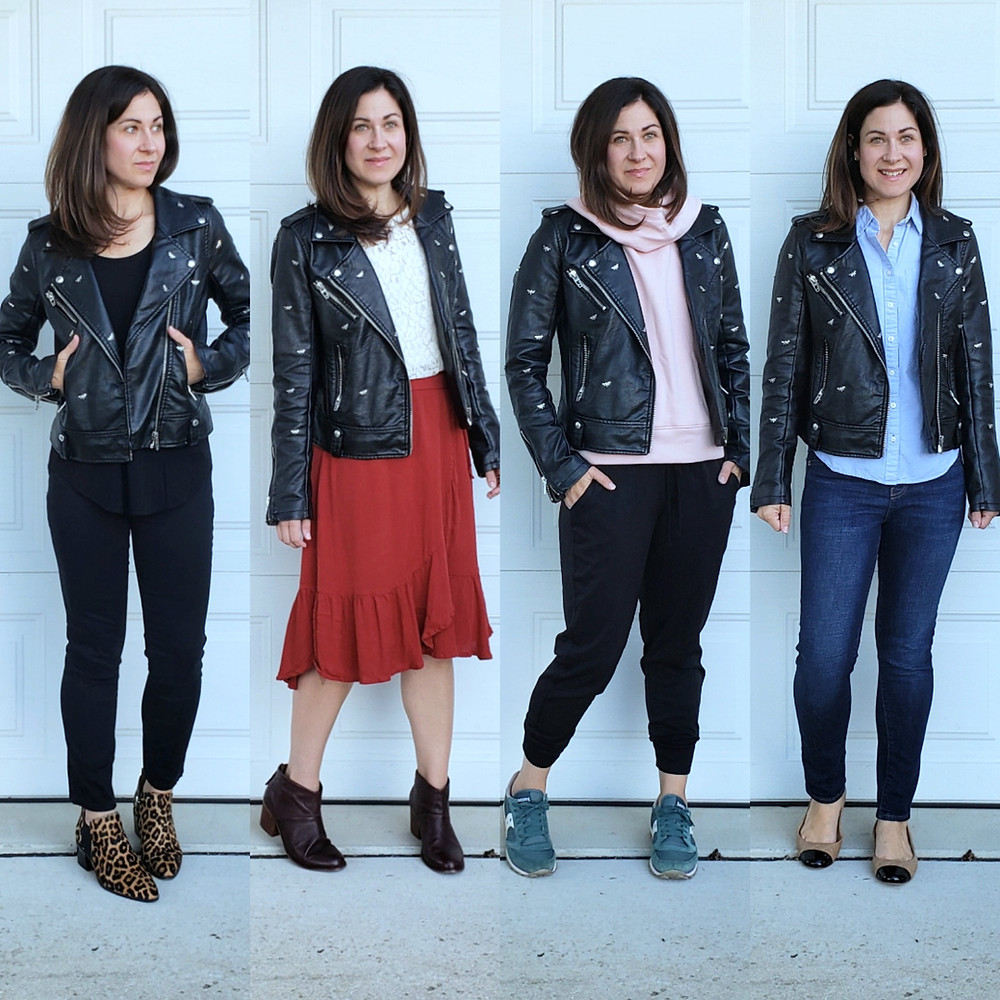 ways to style moto leather jacket mom fall outfit