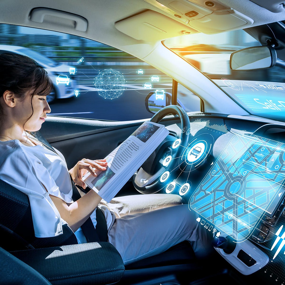 Driveless car from the inside, vehicle, automotive