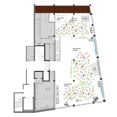 Bestuhlung Freiraum für Workshops 100 bis 150 Gäste