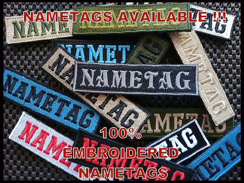 NAMETAGS -1'' x 4'' (10 Letters/numbers maximum)