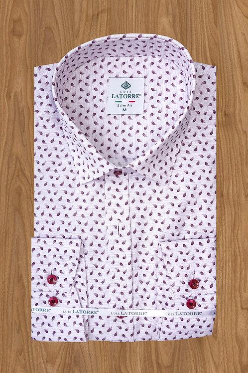 Розовая рубашка с бордовыми капельками