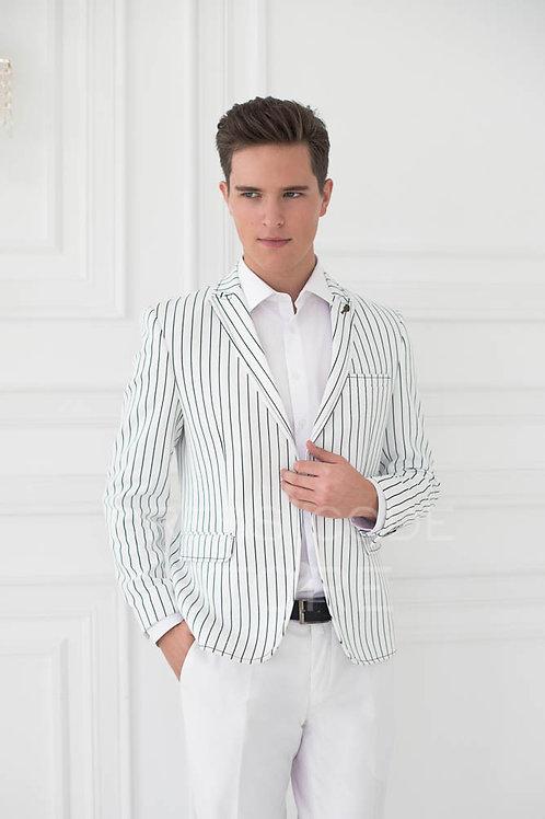 белый в черную полоску модный кэжуал приталенный пиджак спб акция распродажа