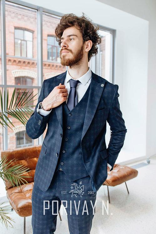 Синий стрейчевый костюм FRANK