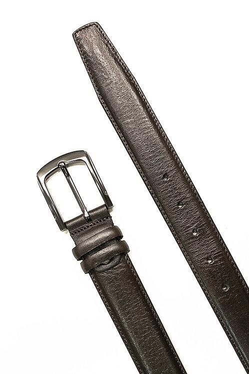 Прокат ремень коричневый классический с прострочкой в тон