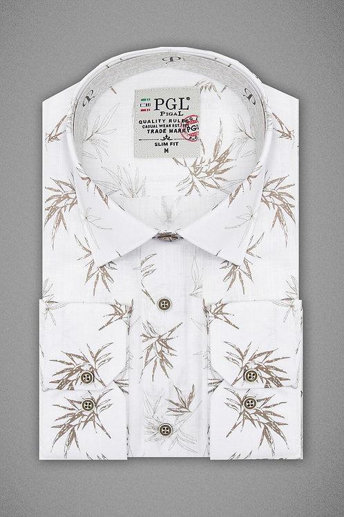 Белая рубашка с узором кэмел