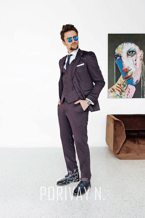 Бордовый трикотажный костюм DAVID
