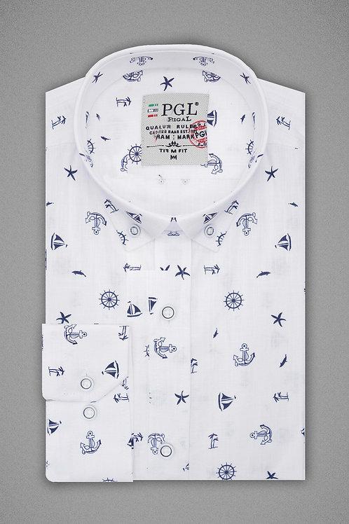 Белая рубашка с морским узором