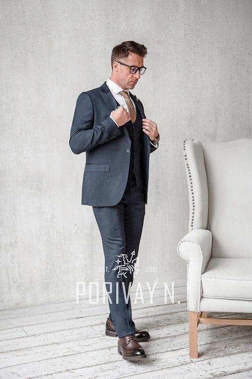 Фактурный синий костюм GORDON
