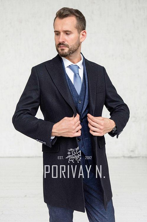 Темно-синее пальто от Porivay N.