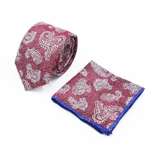 Прокат галстук бордовый с узором пейсли