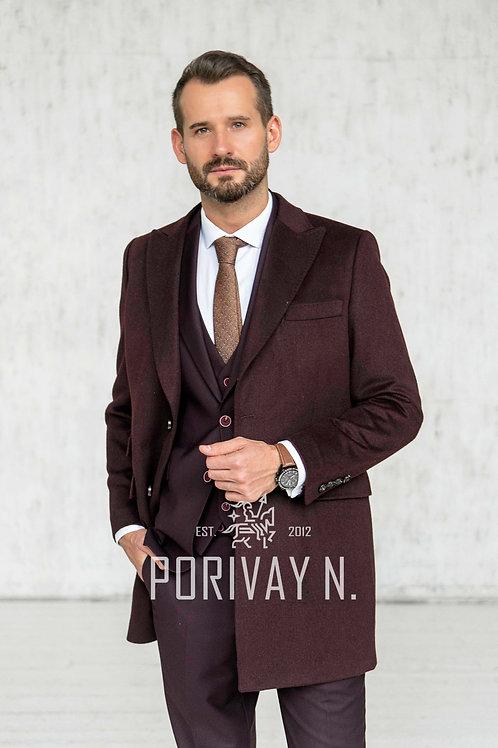 Бордовое однотонное шерстяное пальто