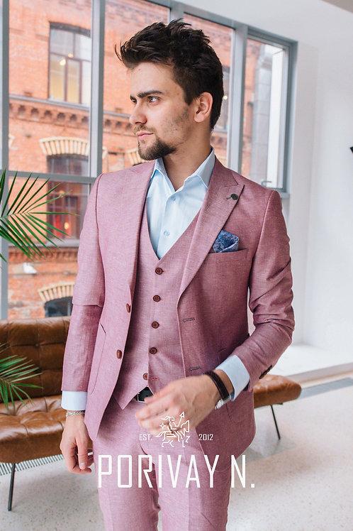 Льняной розовый костюм POWDER LINEN