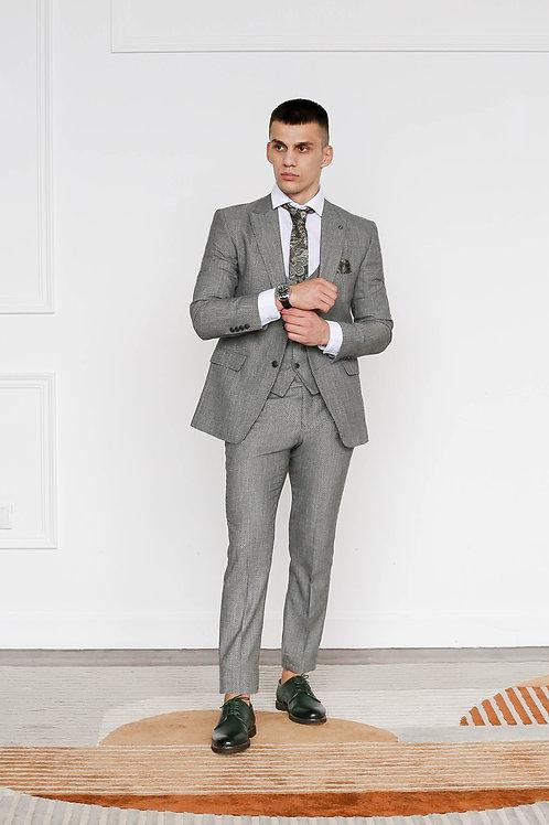 Серый фактурный костюм JASON