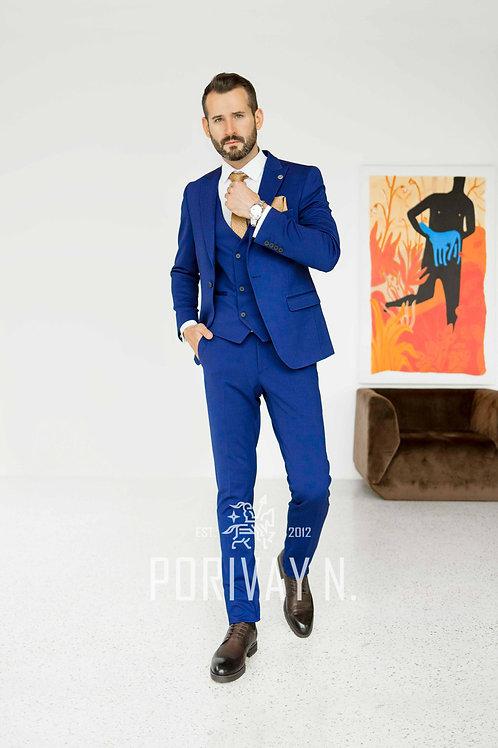 Яркий синий костюм с лайкрой BASIE