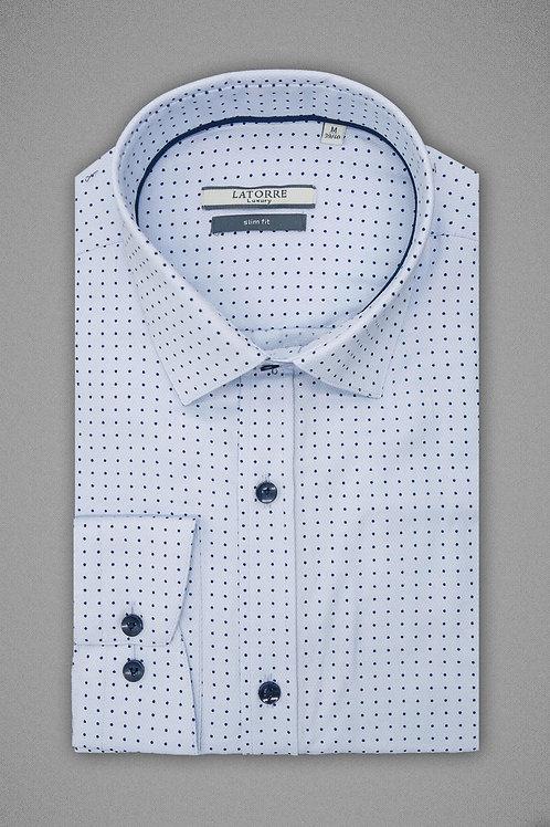 Голубая рубашка в мелкий горошек