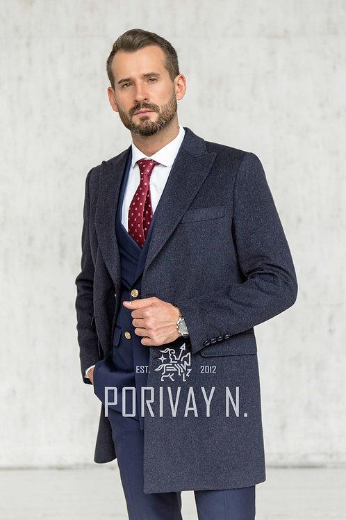 Синее пальто от Porivay N.