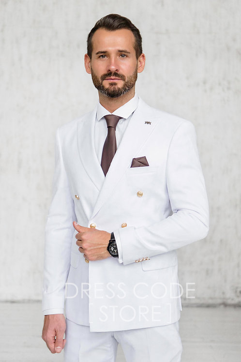 Двубортный белый костюм KIMBERLY