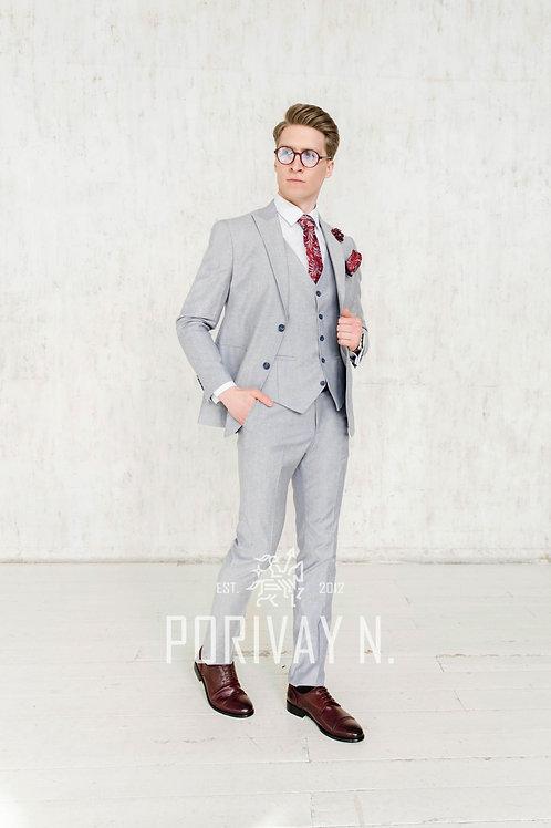Льняной серый костюм MATT GREY