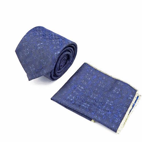 Прокат галстук синий с узором