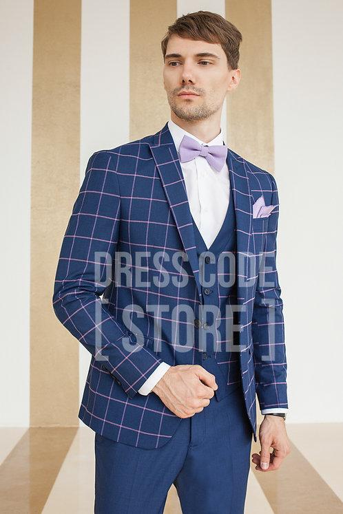 костюм тройка в аренду прокат москва для жениха яркий синий розовый клетка