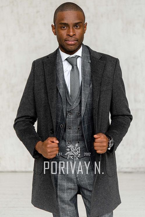 Серое пальто с узором ёлочка от Porivay N.