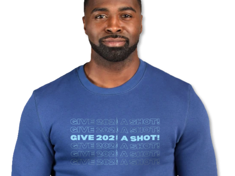 Give 2021 A Shot social justice t-shirt.