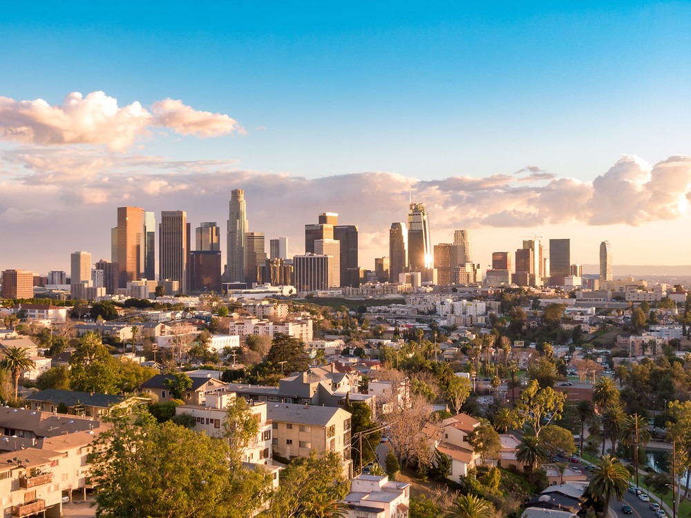A skyline view of Los Angeles, where Marisa practices stand up comedy.