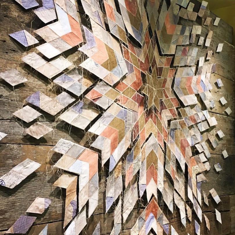 Deconstructed quilt display, Anthropologie