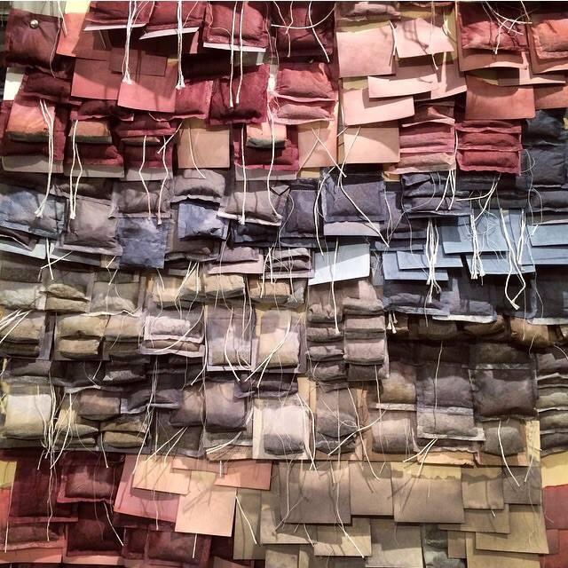 Tea bags, paper tags, brad nails, fabric dye