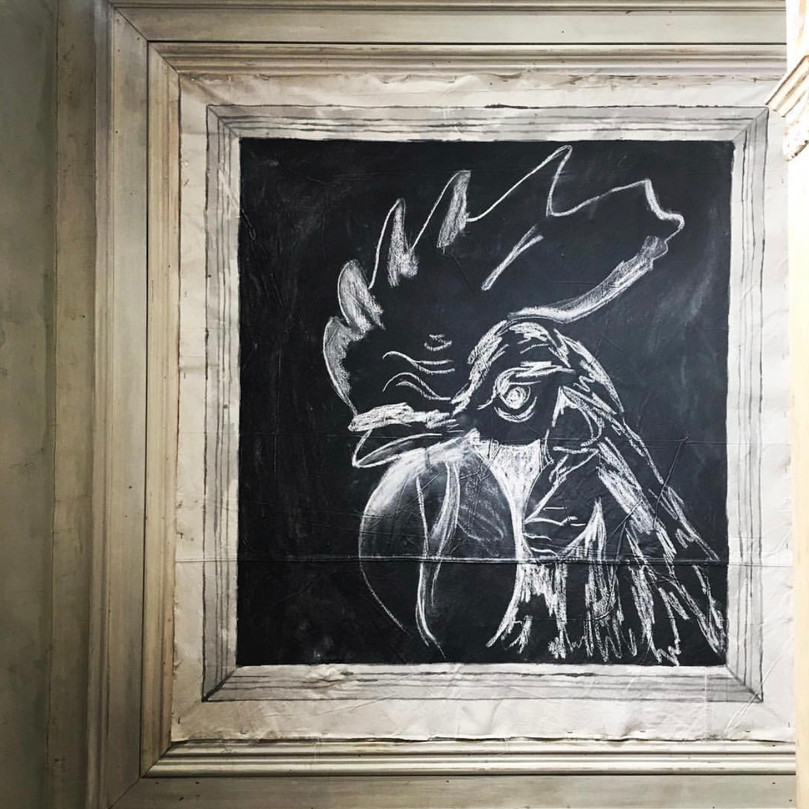 Chalk rooster display, Anthropologie