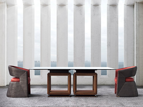 4216/8 Dining Table with glass top.