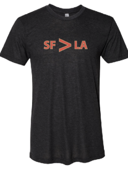 SF > LA Dark Grey/Orange Mens T-Shirt