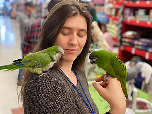 Volunteer holding birds at Meet and Greet event