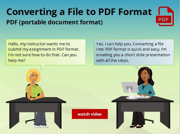 Saving a File in PDF format