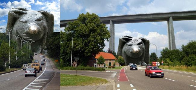 © Johan Brouwers - Fotocollage Noord-Zuidproblematiek n.a.v. het Lachfestival van Houthalen-Helchteren 2005 en 2008