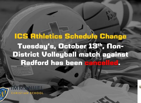 ICS Athletics Schedule Change