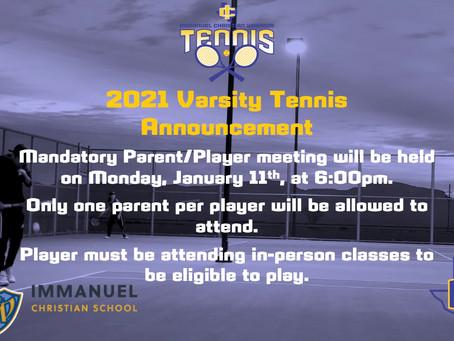 2021 Varsity Tennis Announcement