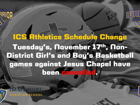 ICS Athletic Schedule Change
