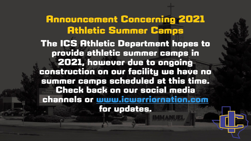 Announcement Concerning 2021 Athletic Summer Camps