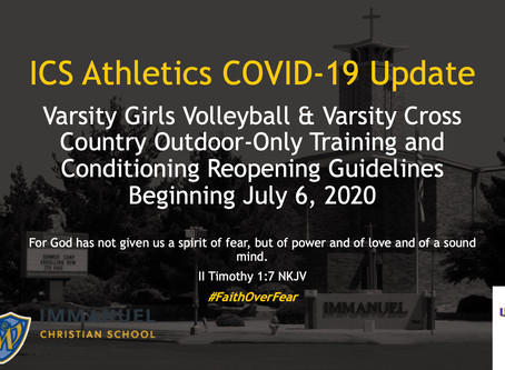 July 6, Reopening Guidelines: Volleyball and Cross Country Outdoor-only Conditioning and Training