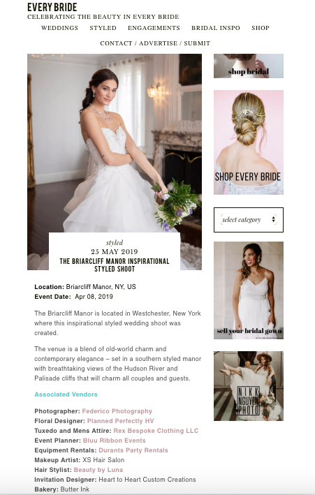 "Every Bride  May 25, 2019  Webitorial  ""The Briarcliff Manor Inspirational Styled Shoot"" by Rebeca and Andrew Federico"