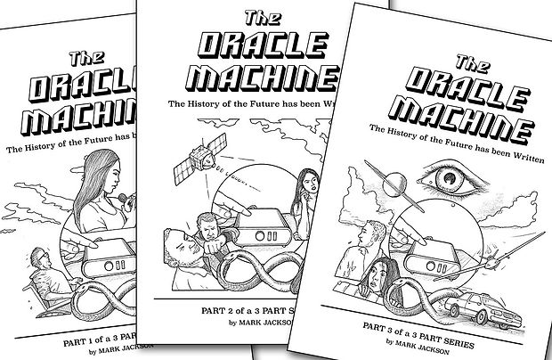 The Oracle Machine graphic novel is divided into 3 parts.