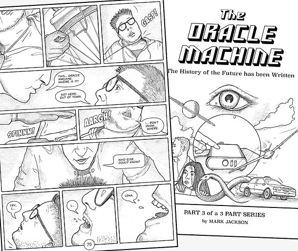 A sample page from The Oracle Machine graphic novel.